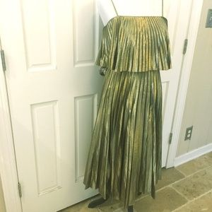 GOLD LAME J. Crew Collection Midi Dress Sz 4